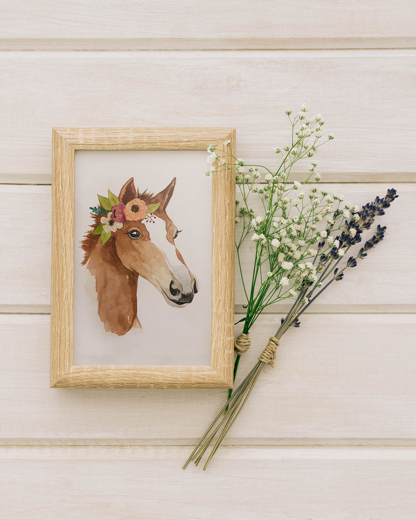 ILLUSTRATION  watercolor horses Flowers butterflies greenery nursery hand-drawn series whimsical