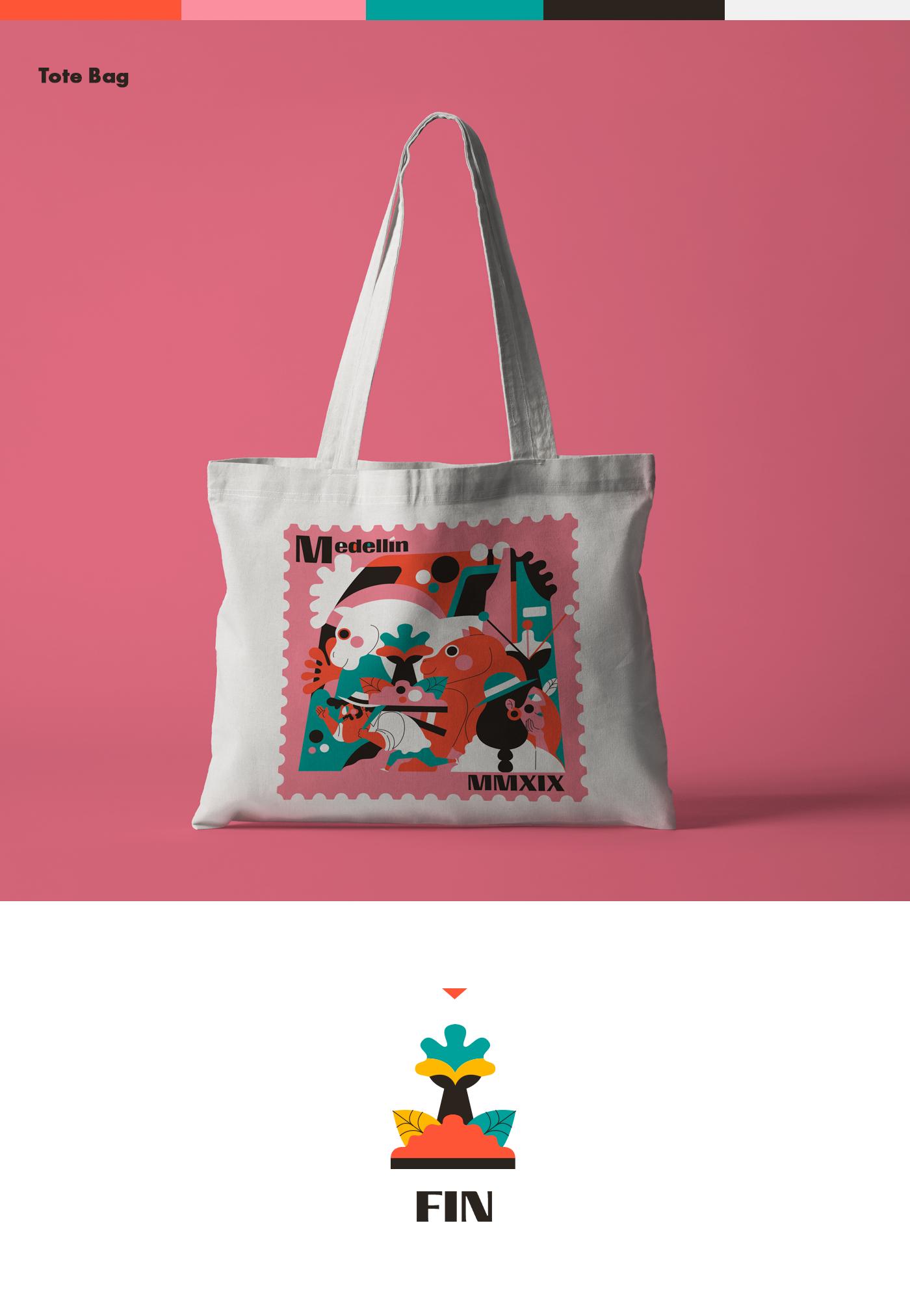 medellin colombia ilustracion Tote Bag camiseta t-shirt bolso txtil fiber Procreate