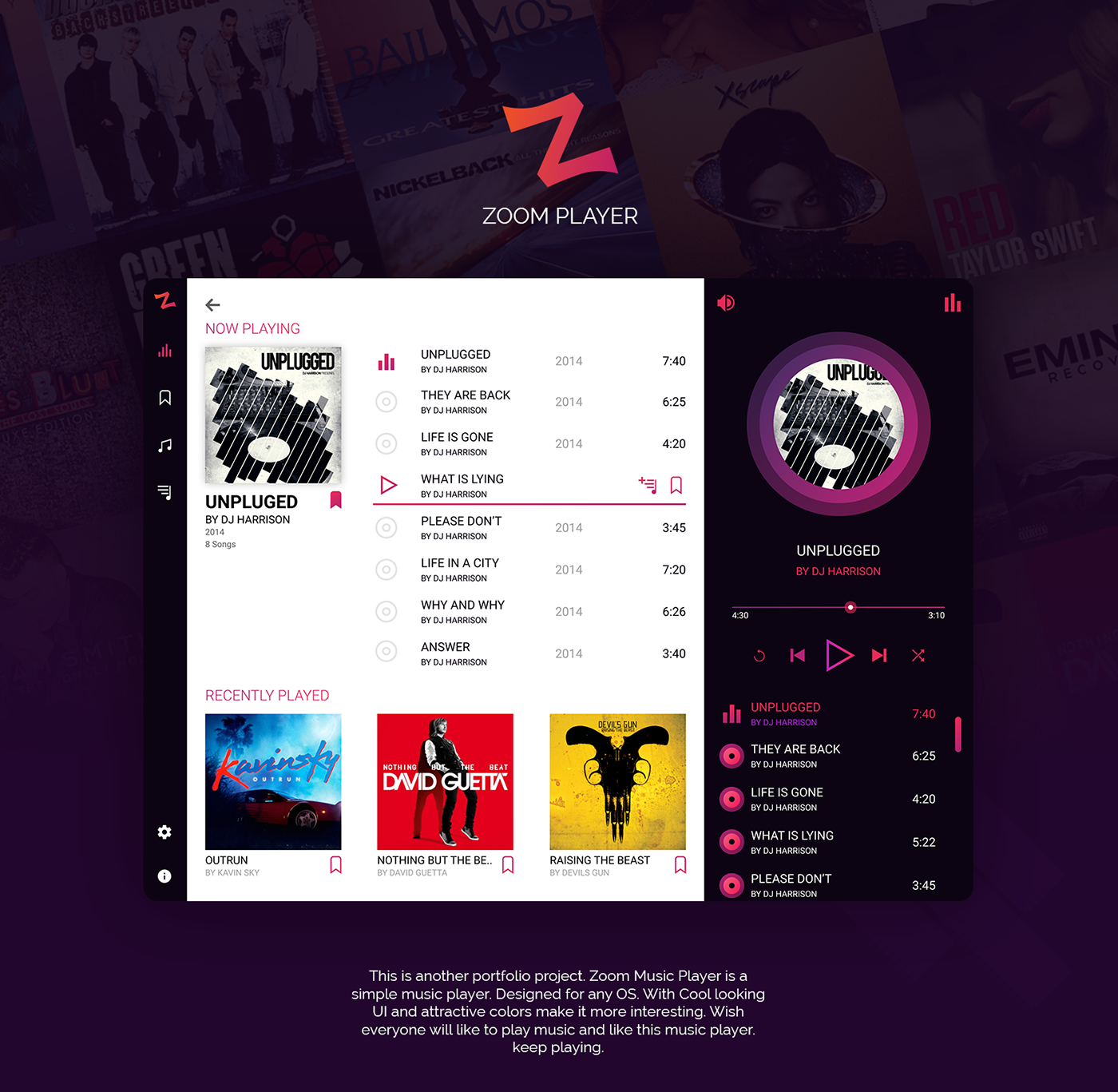 Zoom Music Player On Behance