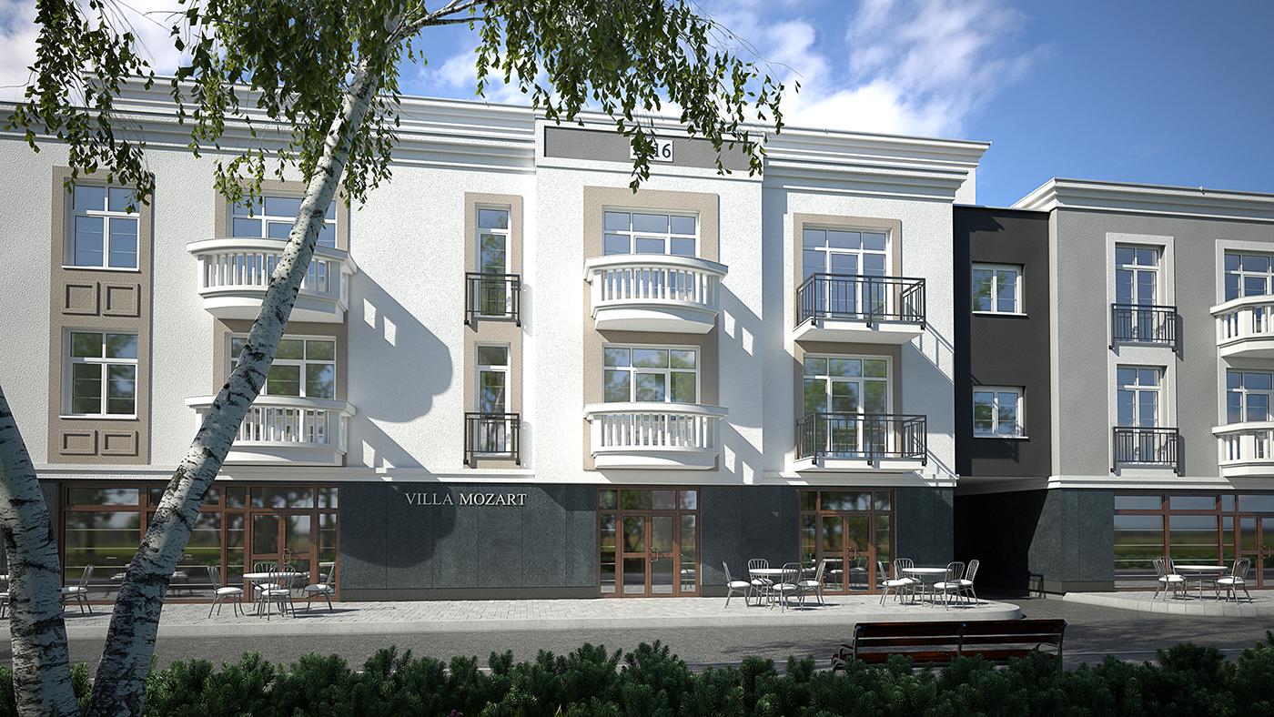 visualization 3D architecture Interior exterior apartment building Residence CGI