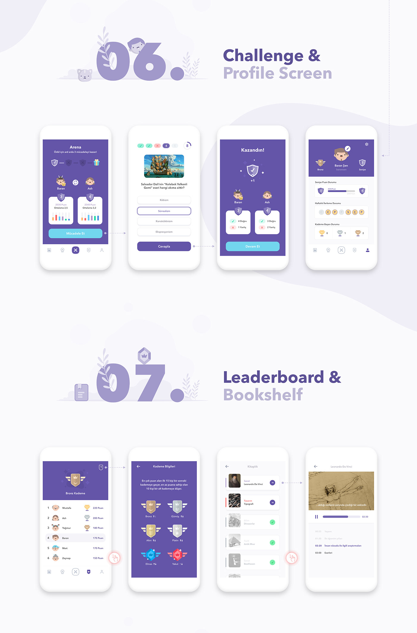 gamification mobile learning Usability Education creative minimal lessons game flat