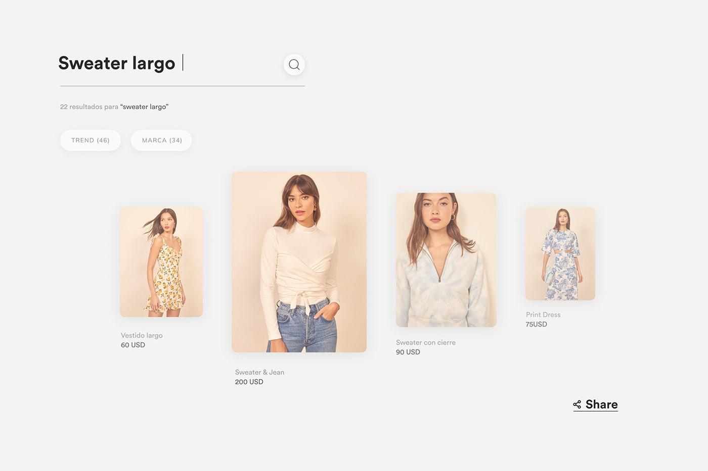 Diseño de las UX UI para ecommerce que integra muchas marcas de moda.