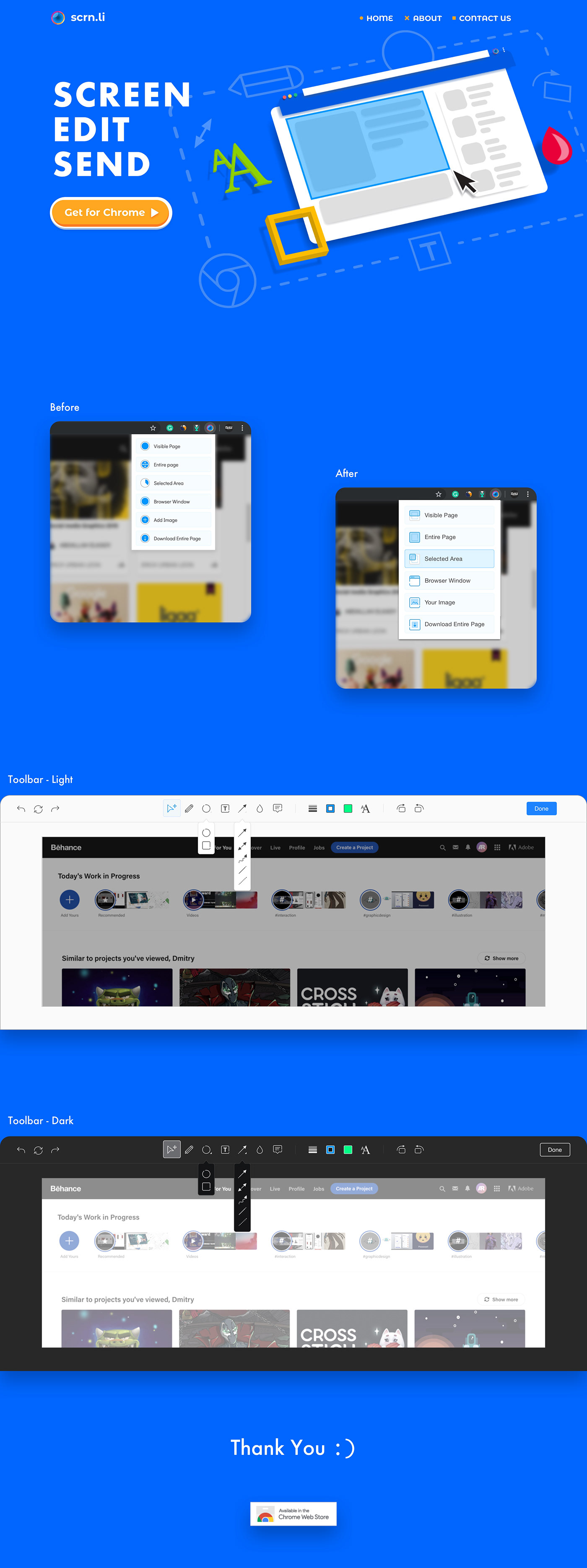 redesign scrnli chrome-extension uiux toolbar Popup UserInterface screenshot icons Perspective