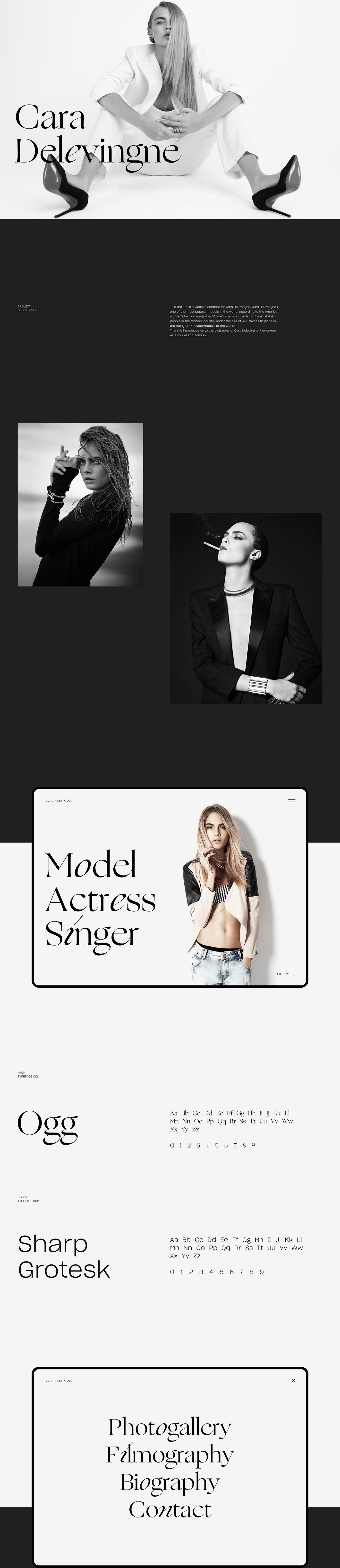 CARA DELEVINGNE Website Concept landing page Web Design  UX/UI Designer fashion design