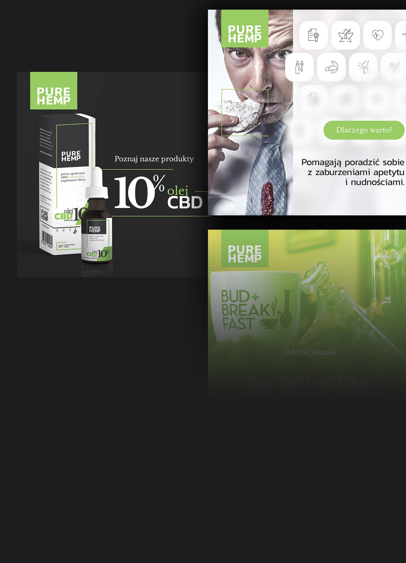 cannabis catalog CBD Dark Design dropper bottles facebook post folder Icon oil Packaging