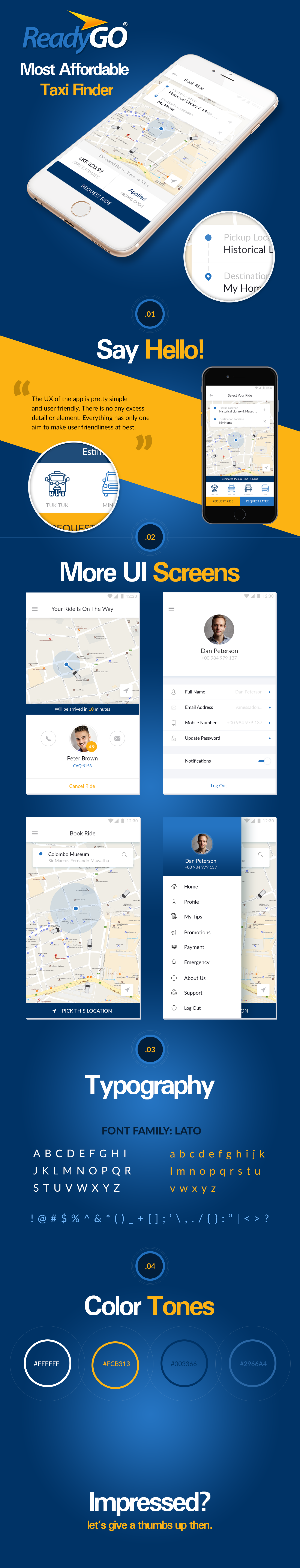 taxi taxi app Booking ios android app ui design blue yellow Uber Transport