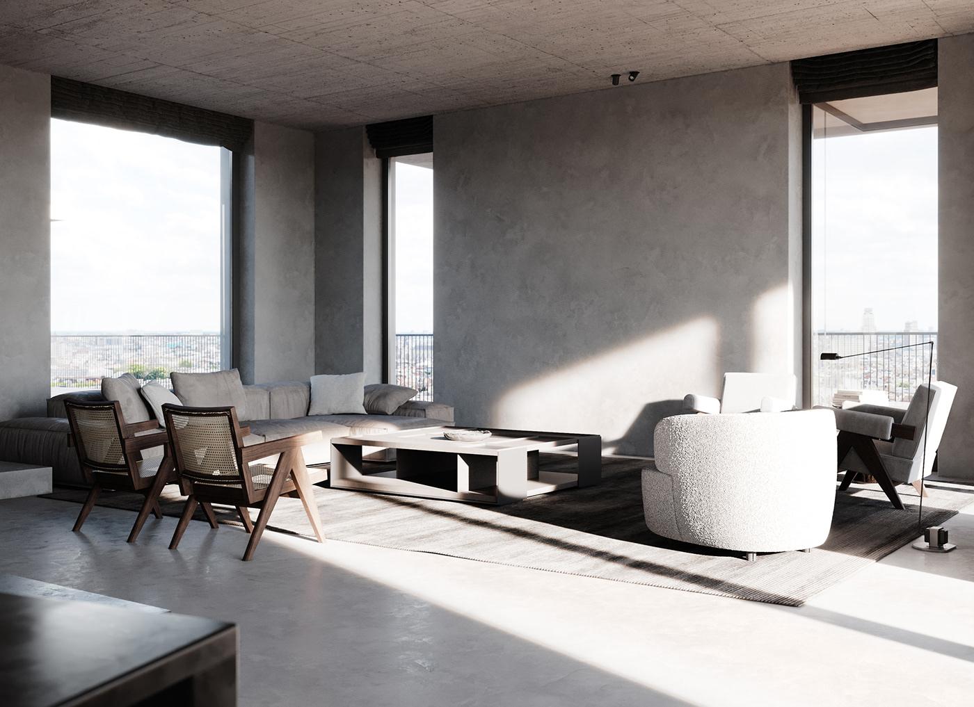 architecture archviz Brutalism CGI cinematic interior design  Minimalism minimalist rendering visualization