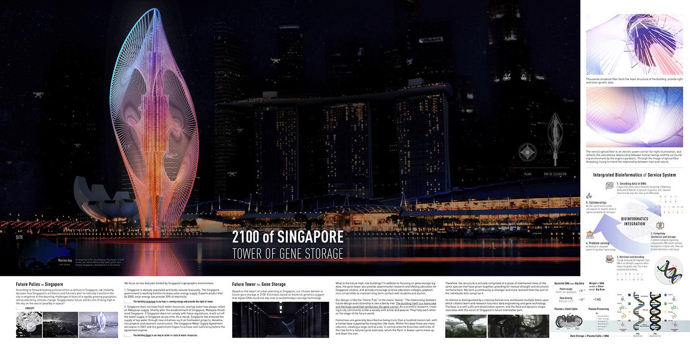 Gene Tower Big Data design Landscape architecture art singapore future building conceptual