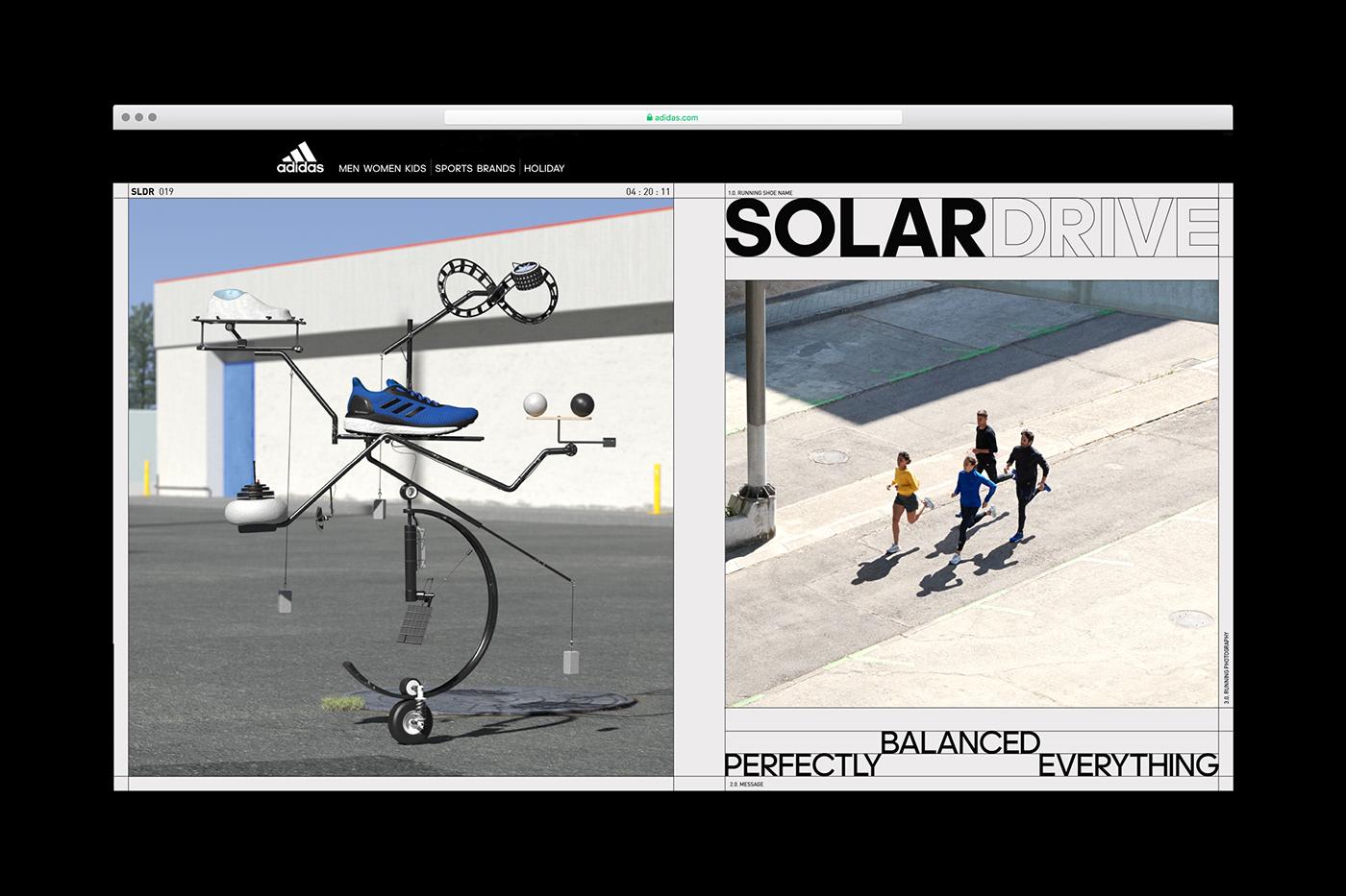 adidas running art direction  graphic design  visual ID branding  inspire sneakers Advertising  simulation