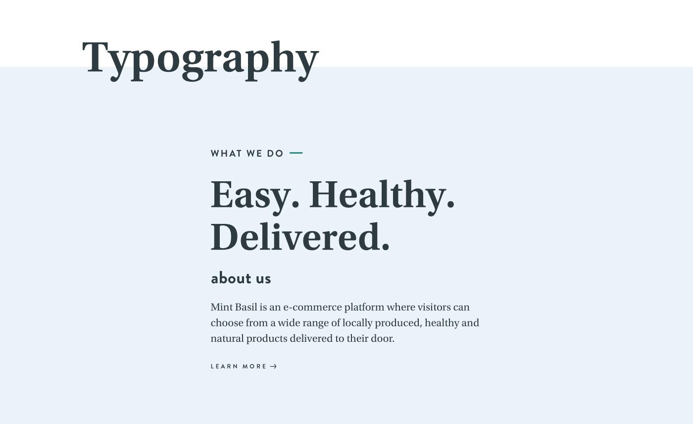 Ecommerce healthy vegan organic gluten free minimalistic typography