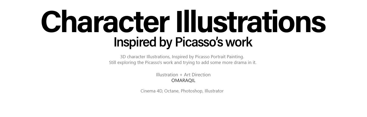 illustrations 3D cinema 4d otoy octane graphic design  modern Picasso cubism portraits