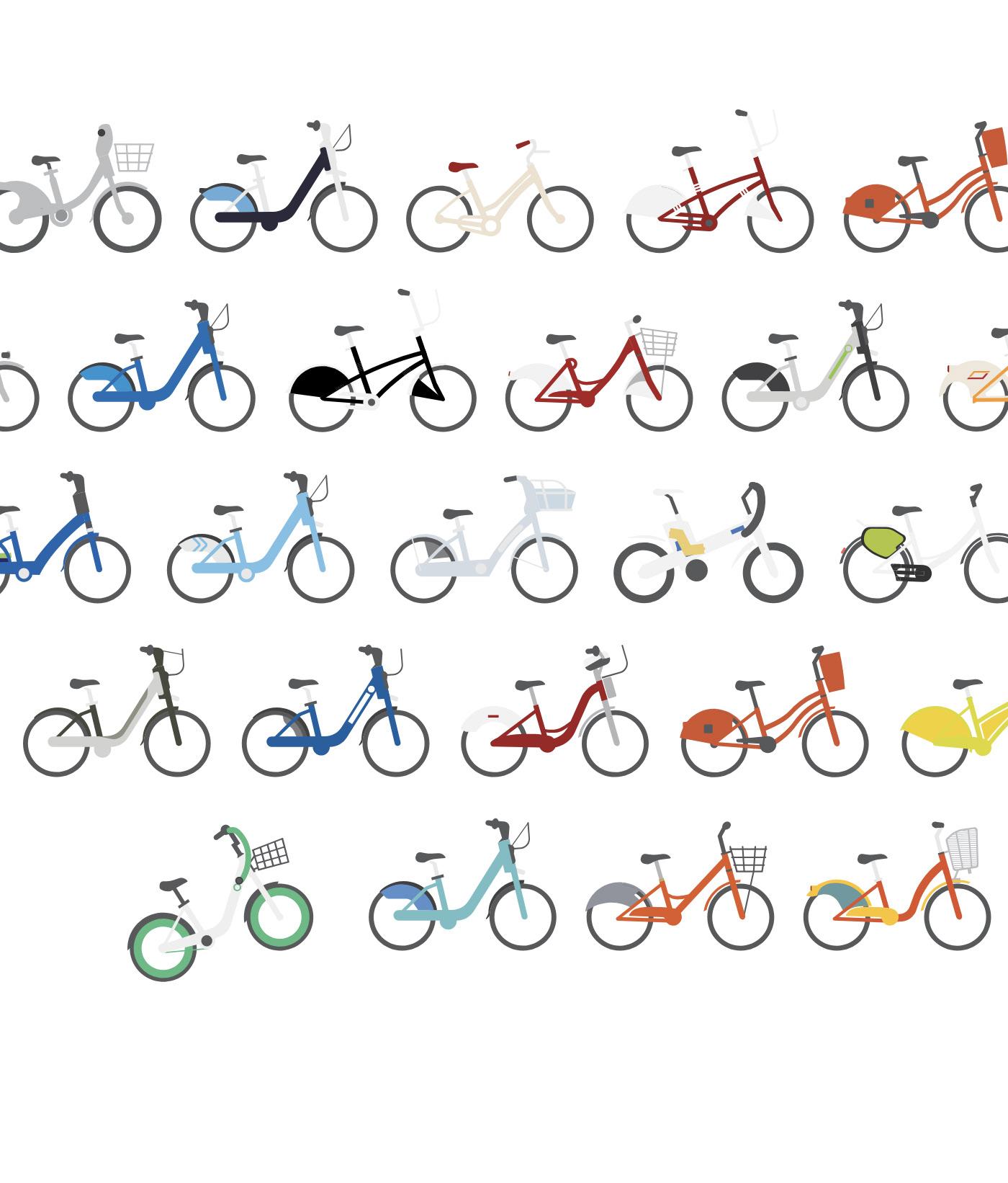 Bicycle bike sharing public bike colorful Cycling ILLUSTRATION  poster Pop Art commuting Big City