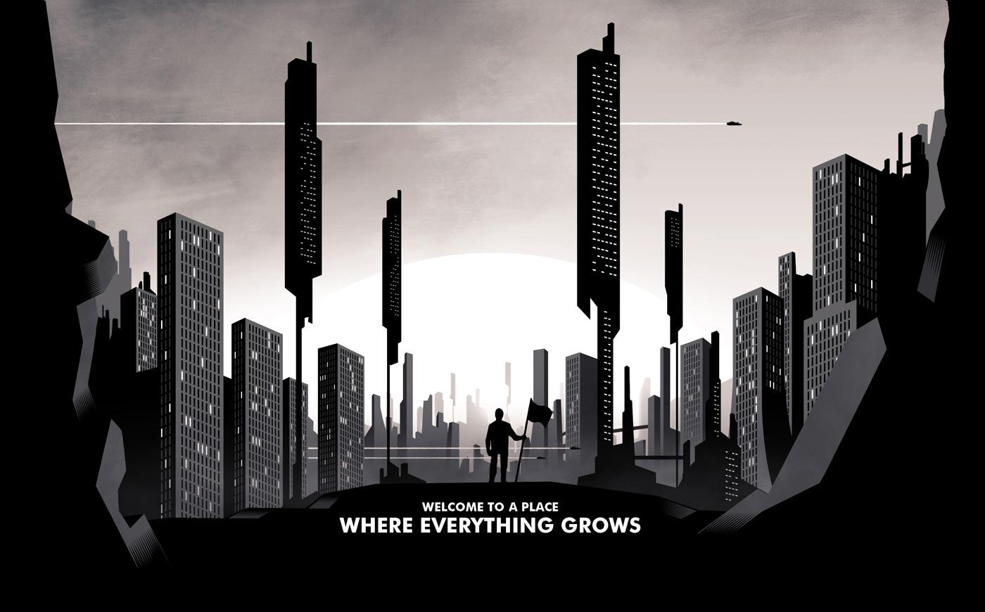 city town futur black and white agency parallax