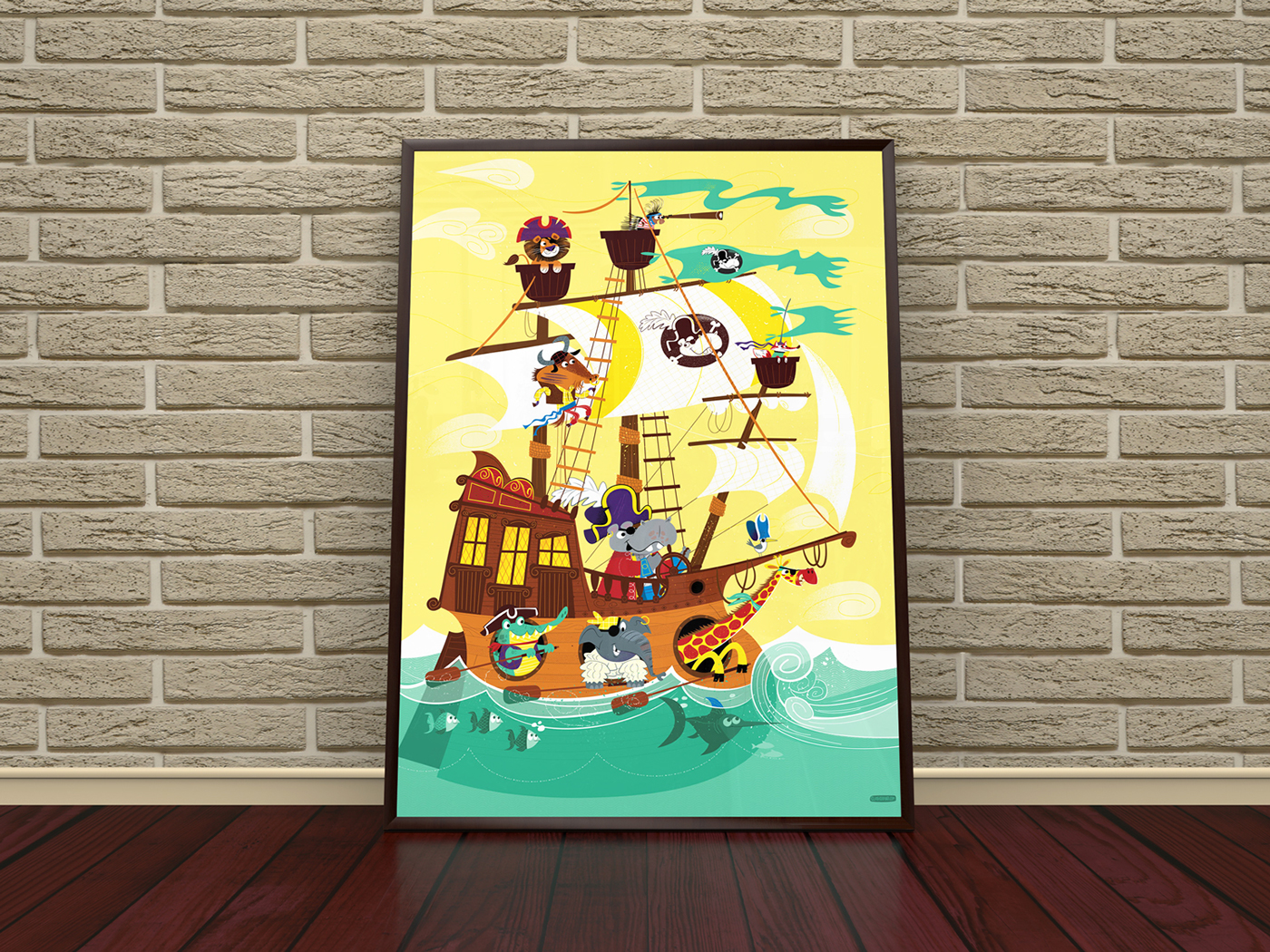 Animal Pirate Ship Art Print on Behance