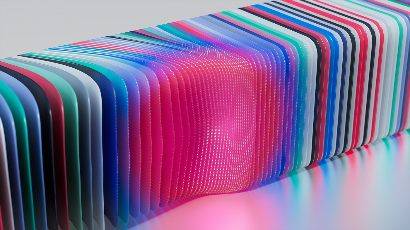 Microsoft UI ux 3D fluid motion design phone user interface vfx