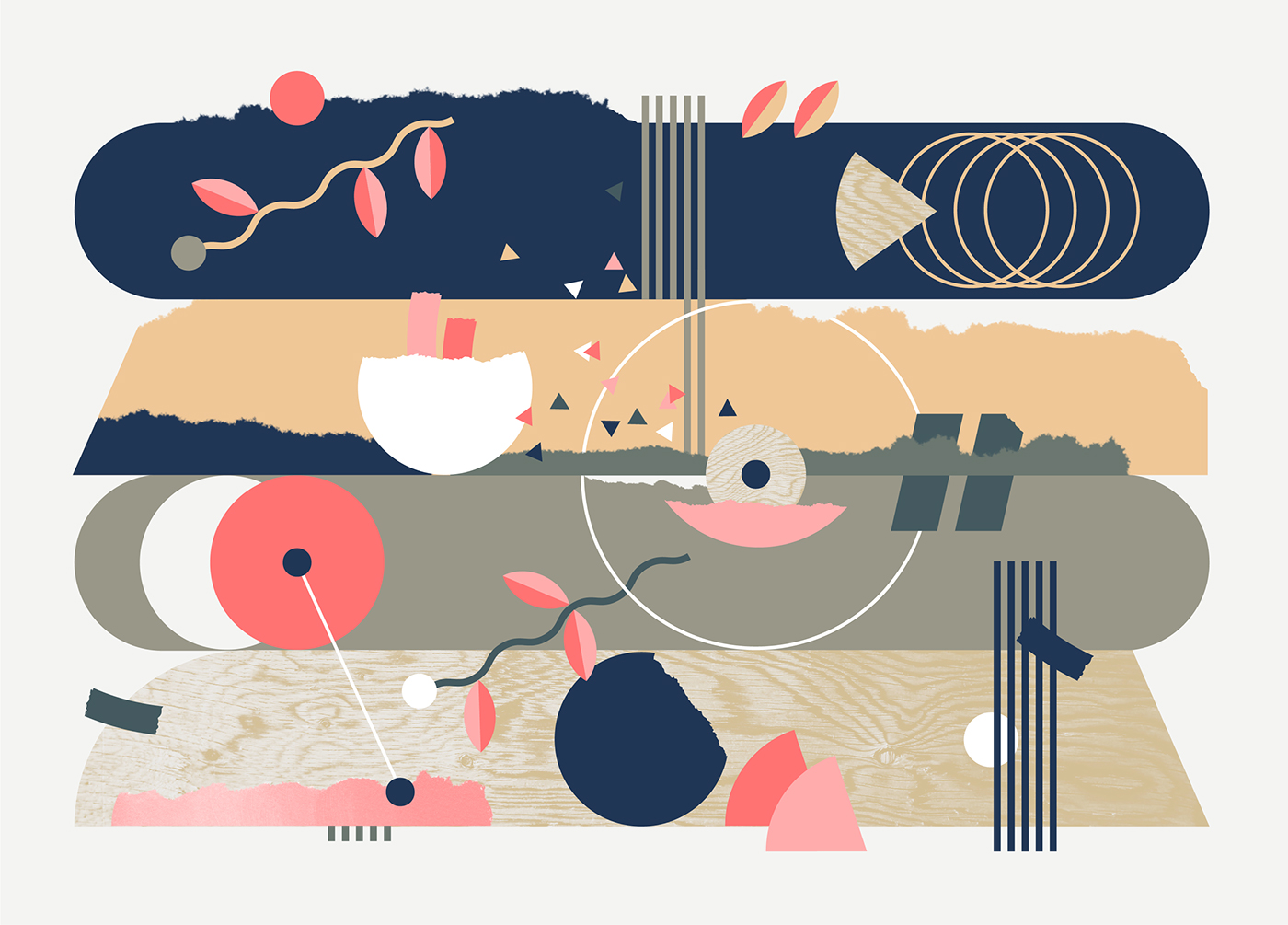 ILLUSTRATION  Nature music sound waves notation Pastels Flowers collage vector pink