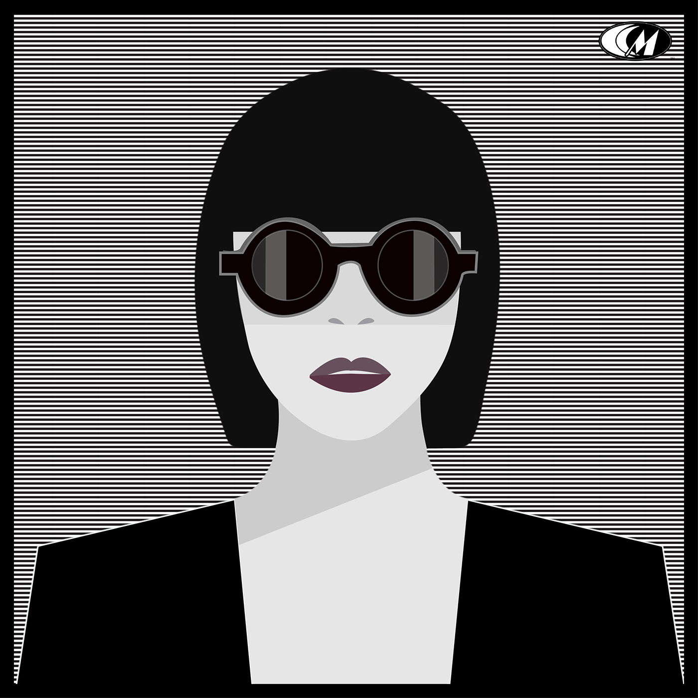 Fashion  art Sunglasses lipstick vector pattern black and white woman