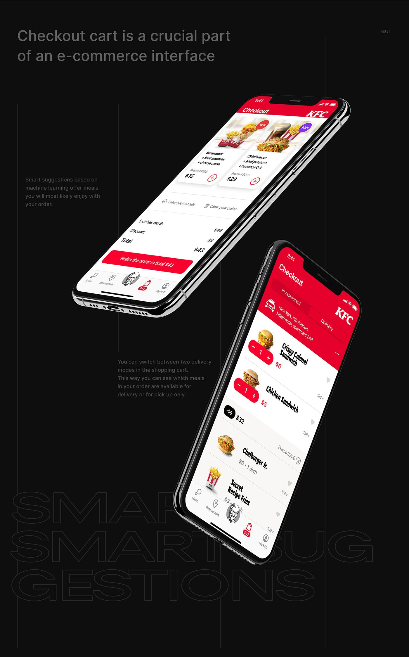 delivery food mobile app Food app design food app mobile foodtech ux future app mobile kfc app design kfc app ios design kfc app ux kfc russia Voice assistant