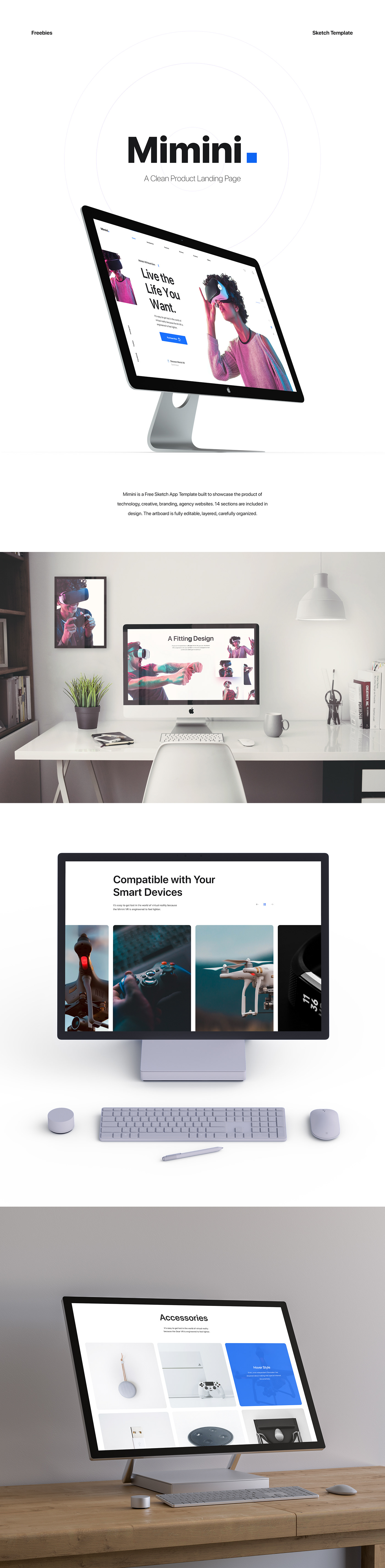 Sketch Template freebie Web Design  One Page landing page ui design product Technology vr Virtual reality