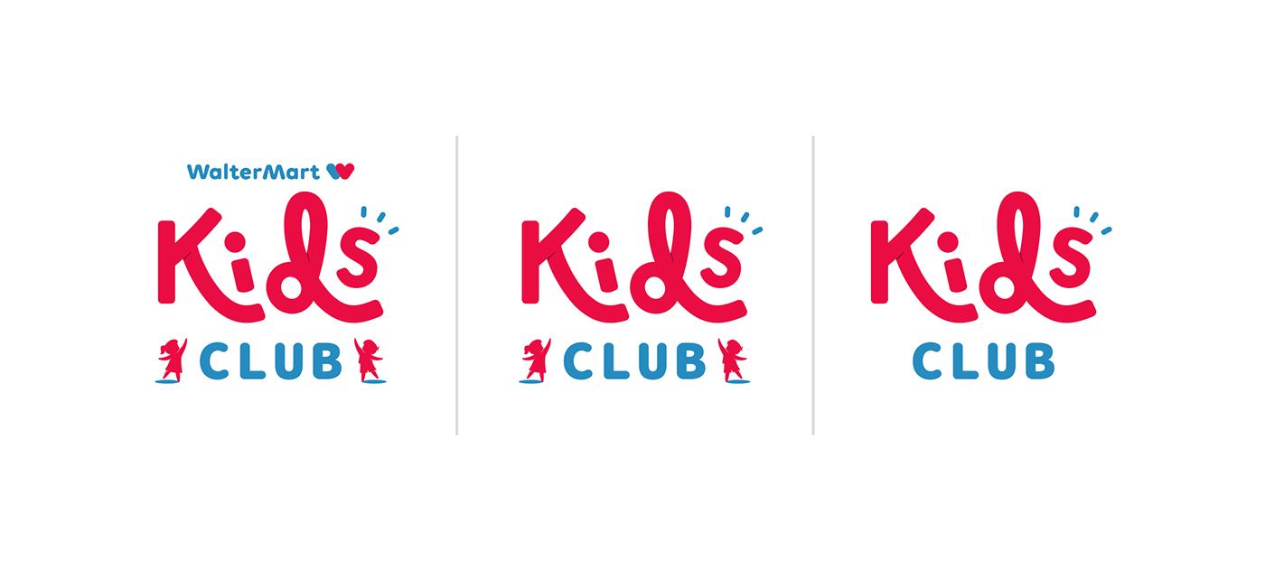 children kids Waltermart brand identity bright colorful Kids Club Logo Design EXPLORERS happy