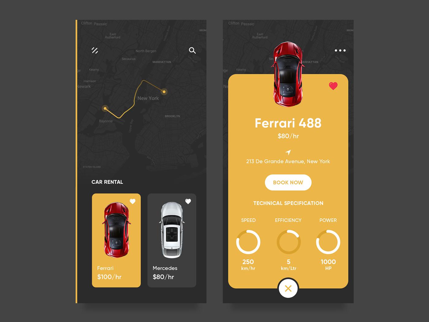 Car Rental App on Behance