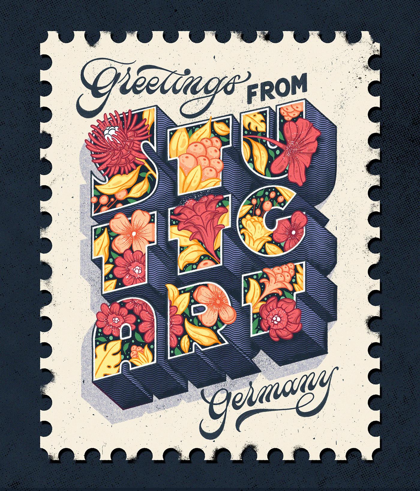 stuttgart stamp lettering flower Floral Lettering germany city letter type typography