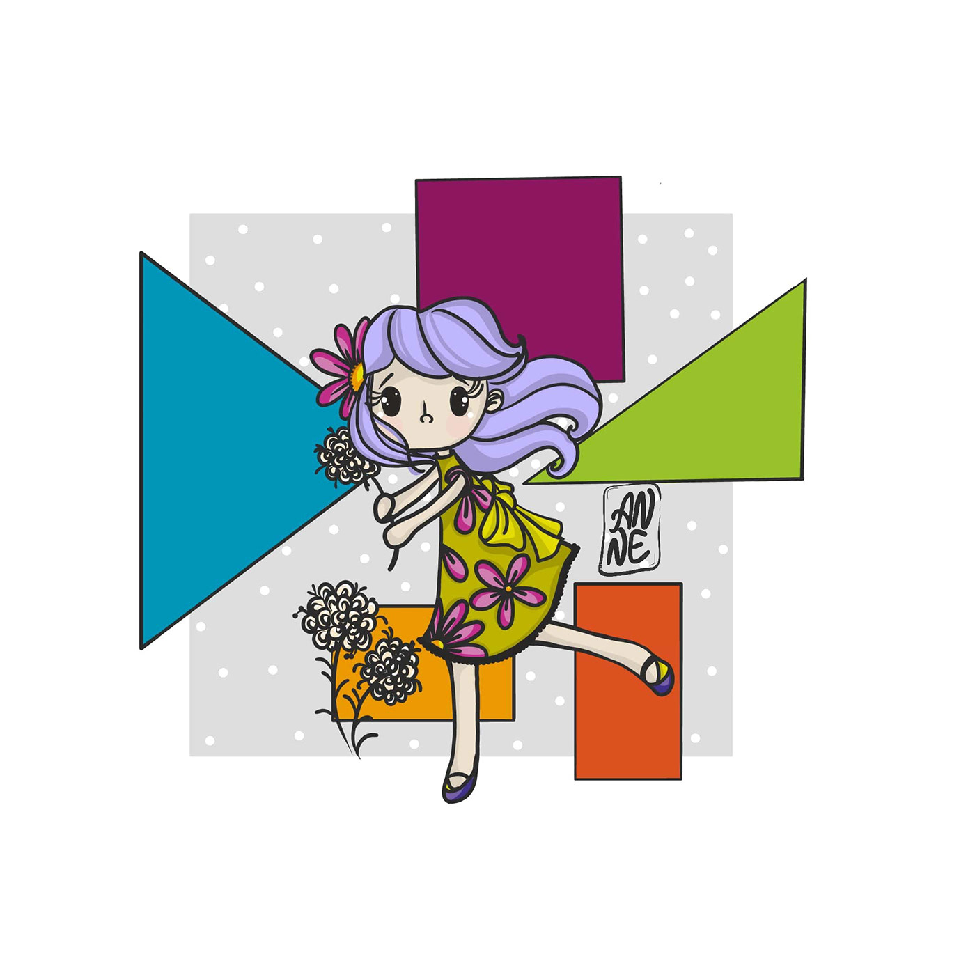 g Girl with flower on a background of geometric shapes.