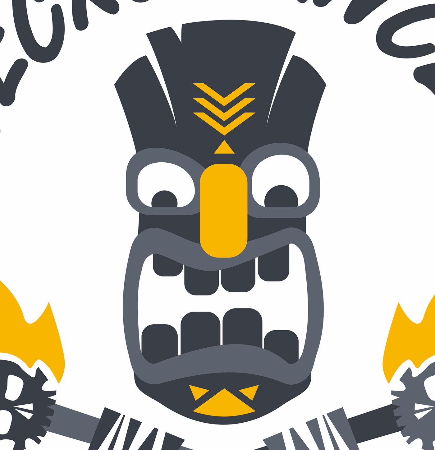 HAWAII hawaian Tiki mask head dungeonsanddragons necromancer Scary skull Flames
