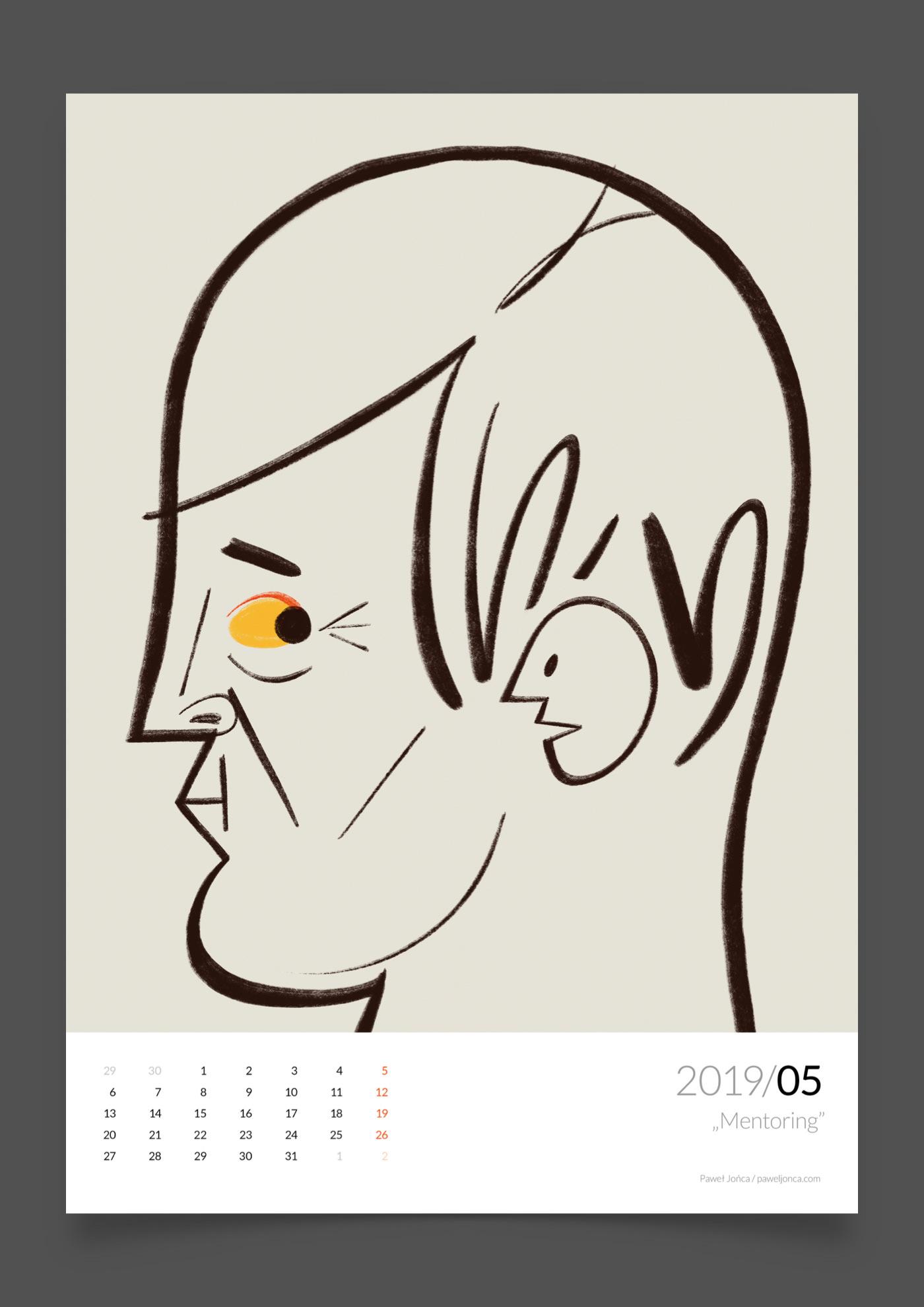 2019 wall calendar calendar 2019 calendar illustrations Pawel Jonca editorial
