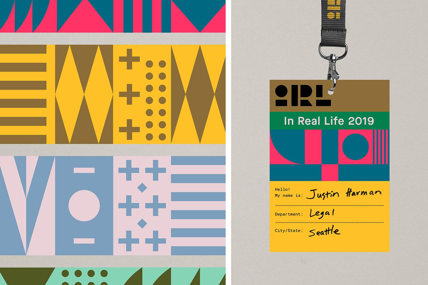 branding  Event logo pattern geometric modern camp poster badge Lanyard