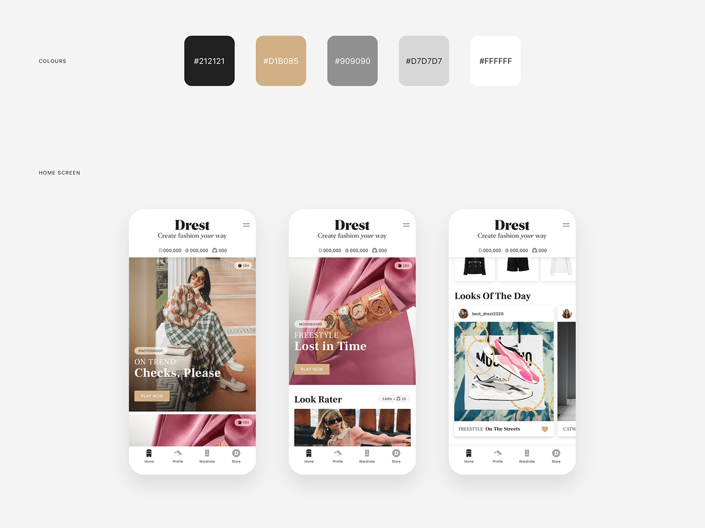 app design game ios Luxury Fasion styling  UI ux Fashion  Adobe XD