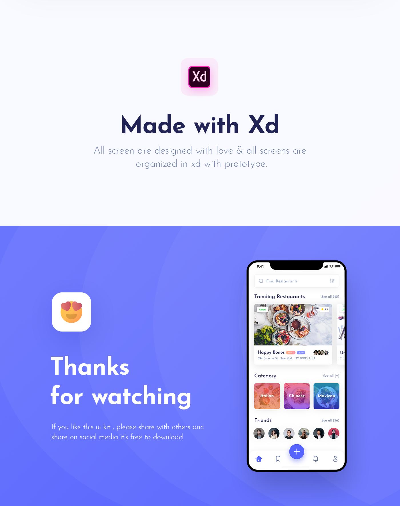 UI ux app design ui design foodapp   uikit freebie Foodybite Adobe XD iOS App