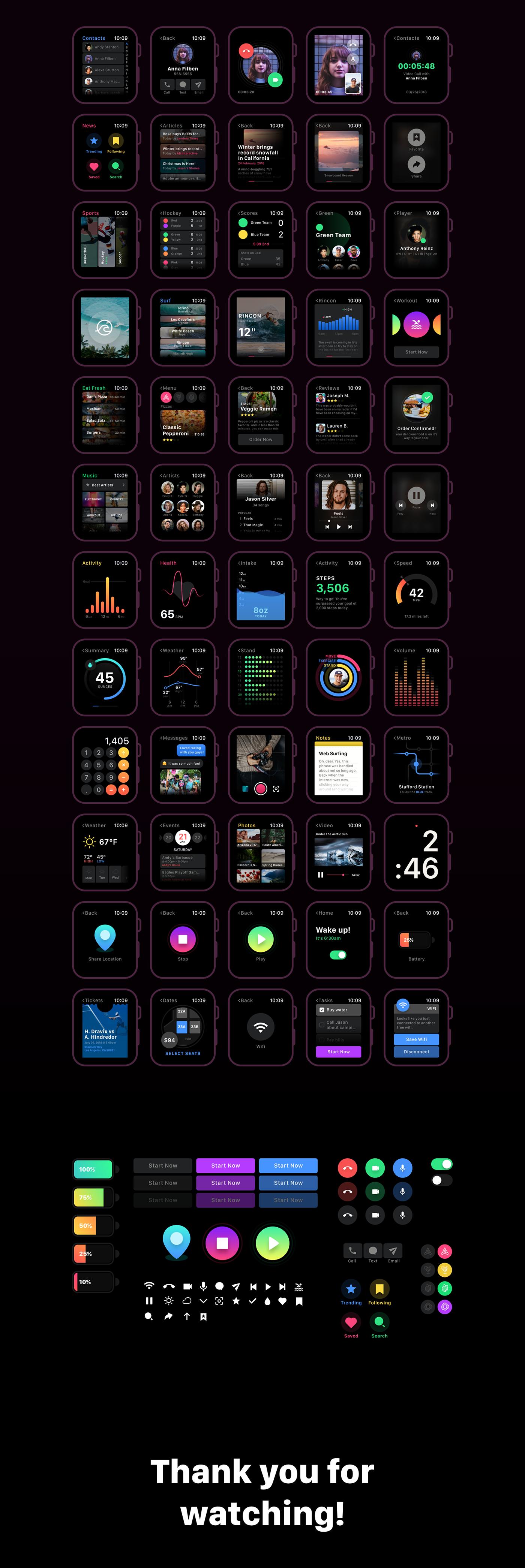 Adobe XD freebie ui kit smartwatch free ui kit xD
