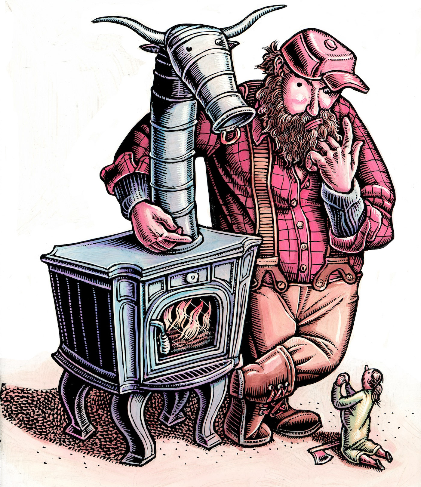 woman begs giant man for wood stove