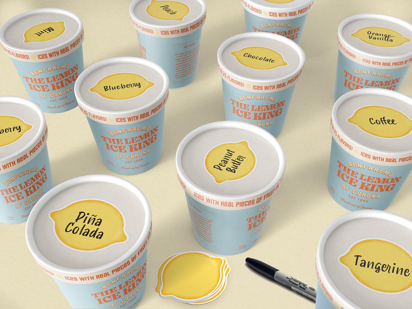 branding  colorful Food  Packaging vintage stickers brand identity ice cream branding