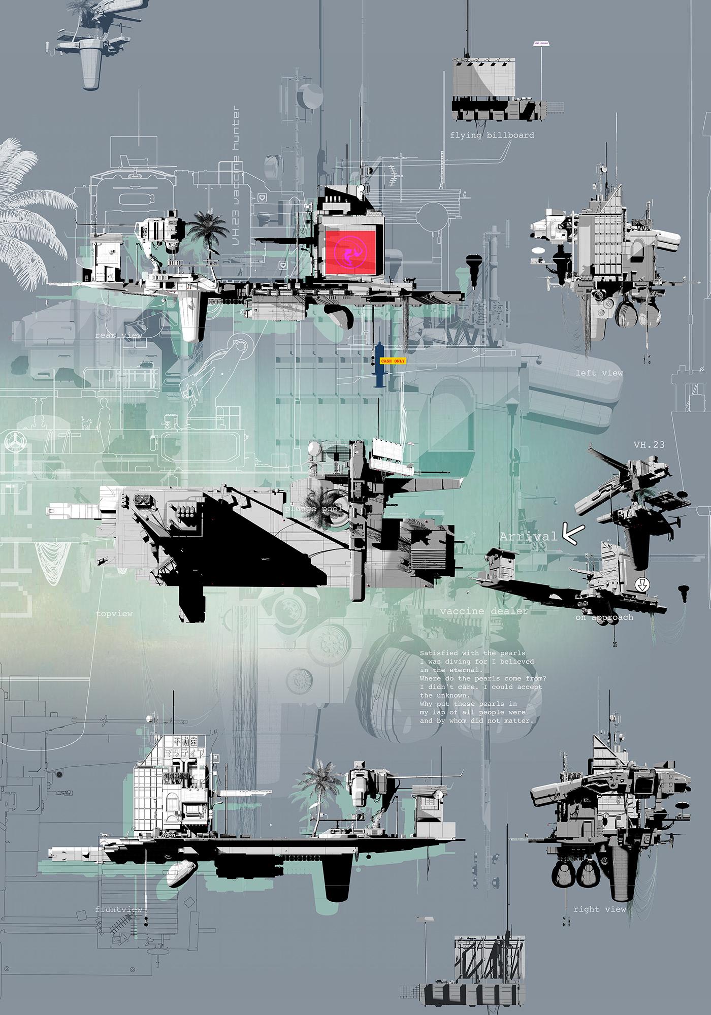 flying architecture Gundam Landscape machines narrative illustration Pearl diving robotics speculative design speculative fiction vaccine