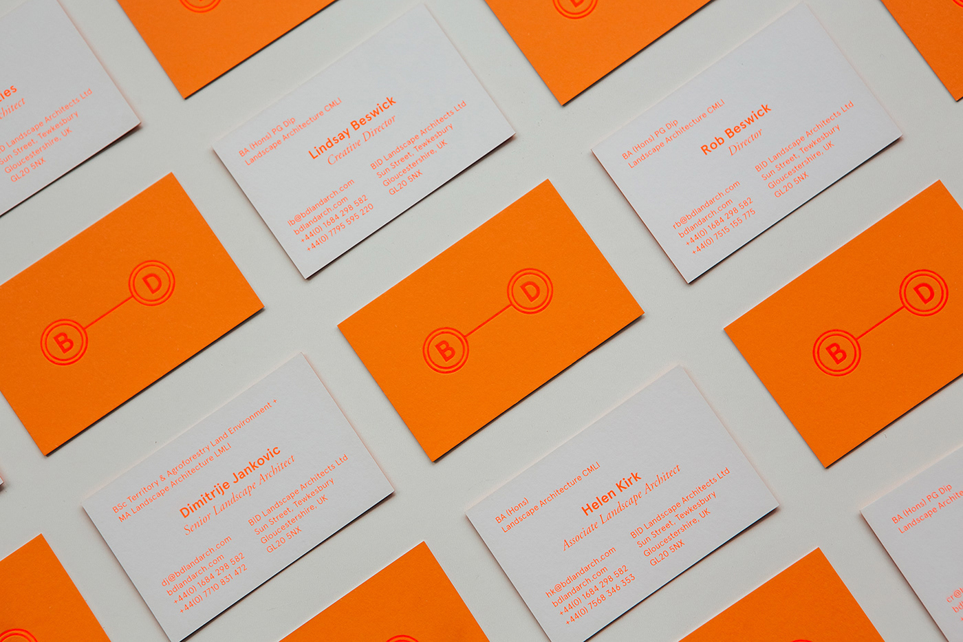 architecture book design business card foiling Landscape Landscape Architecture  neon orange postcard Stationery
