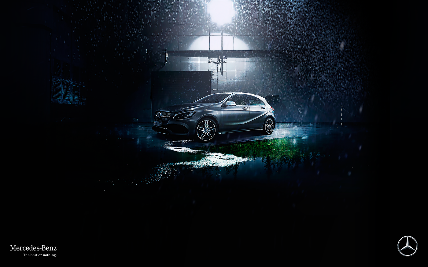 Mercedes Benz car retouch photomanipulation design automotive   digital illustration drive the best or nothing Vehicle night mountain creative retouch Driving