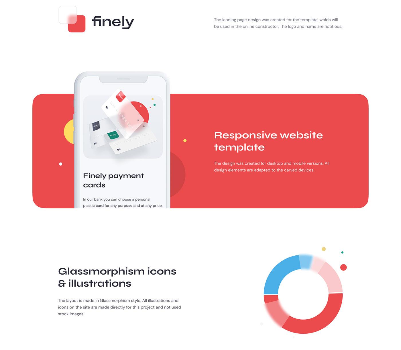 Bank banking cards finance Fintech glassmorphism template Web