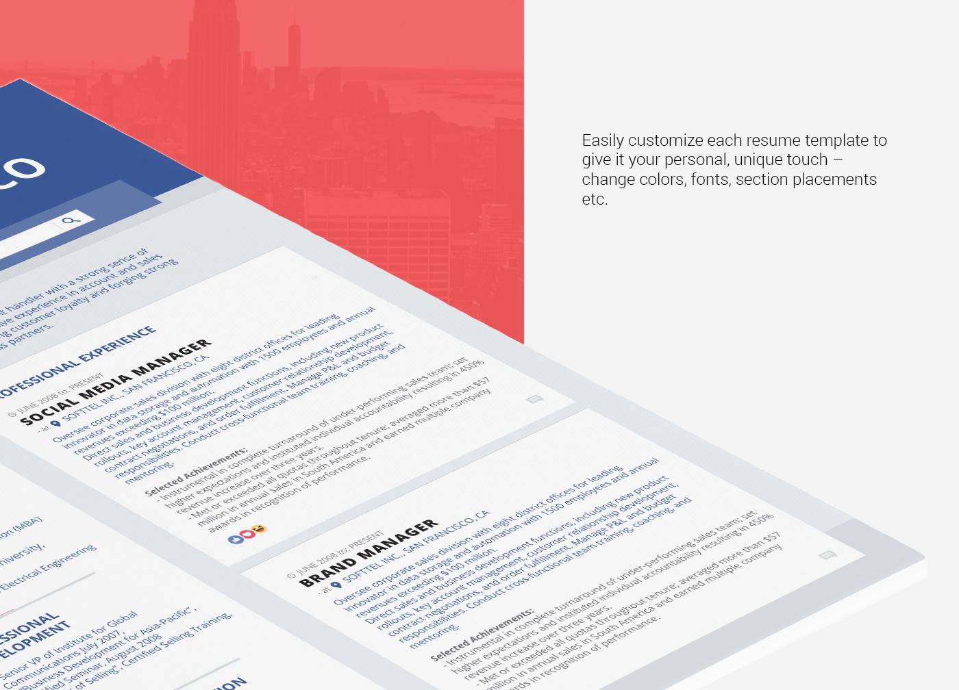 facebook timeline resume template on behance