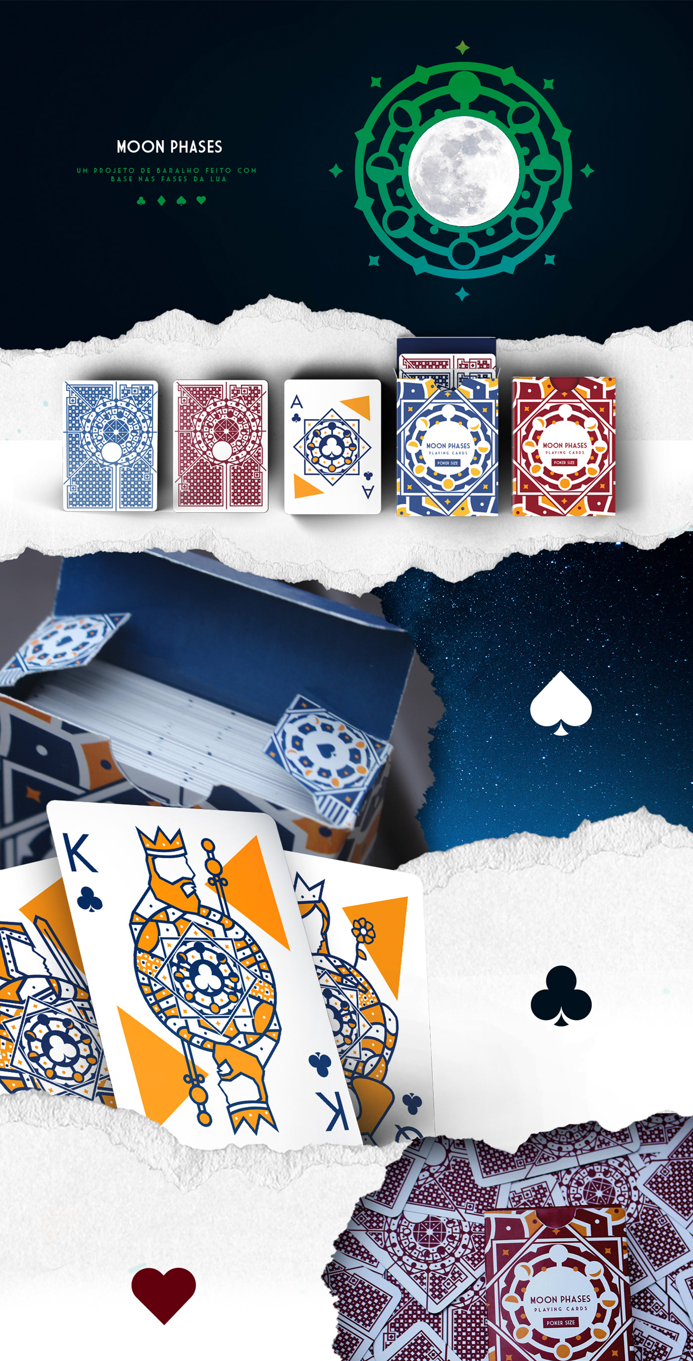 Playing Cards moon cards stars deck cartas Baralho Lua Poker Magic
