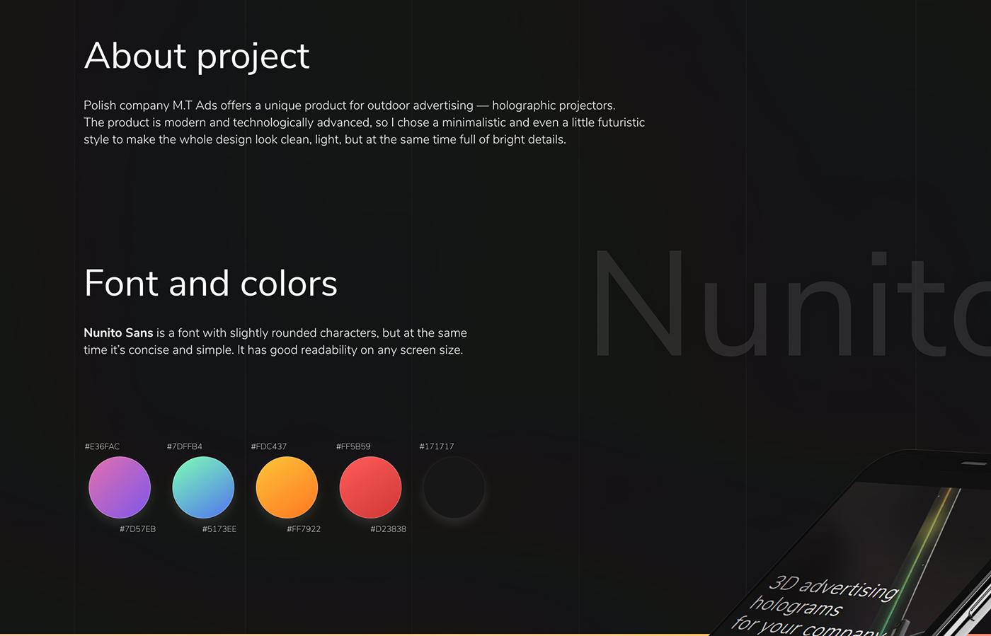 Website design ui ux tilda 3D Advertising  hologram Projector modern Technology