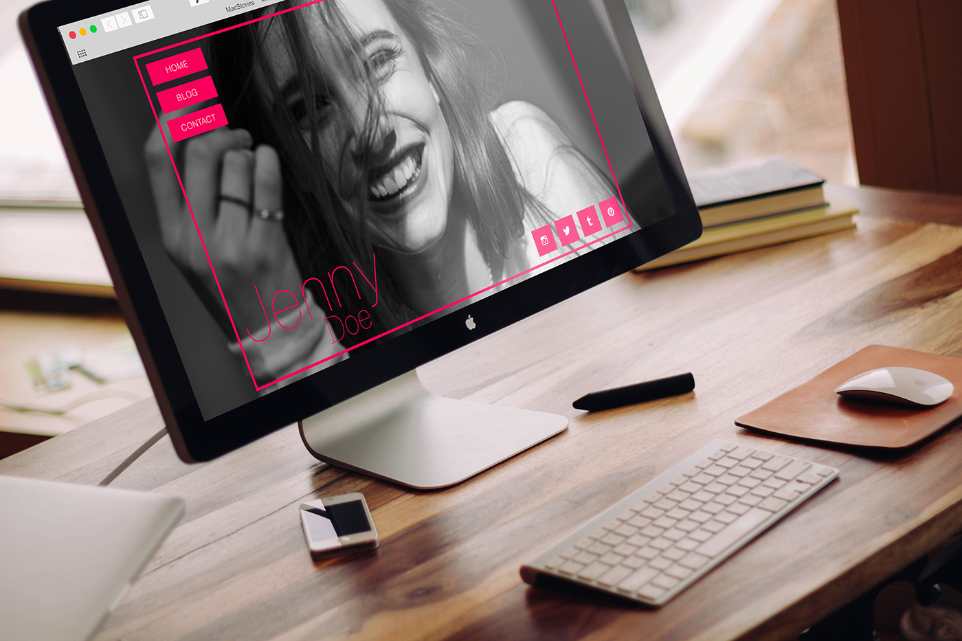 personal personal website One Page Author girl pink red Make Up beauty