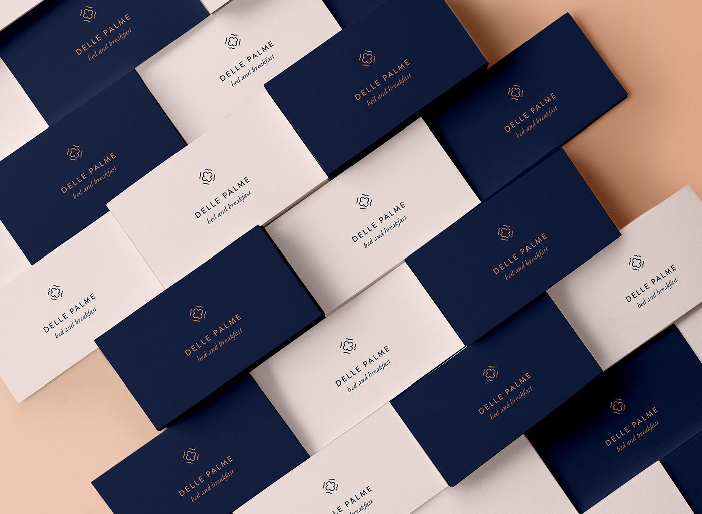 B&B Hospitality hotel Logo Design flower brand identity luxury blue