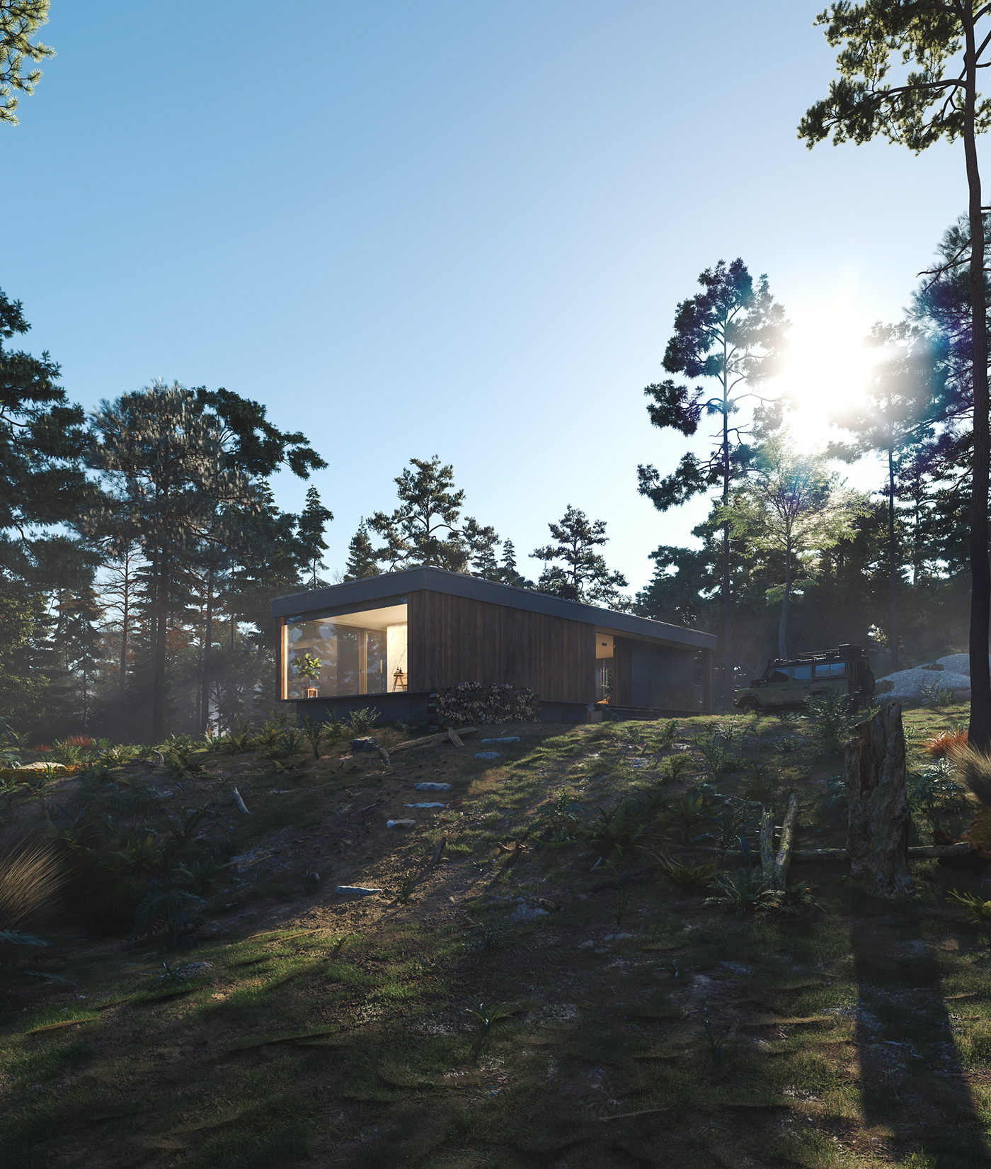 3D visualization CGI vray rendering 3dsmax Archecture exterior photorealistic MegaScans