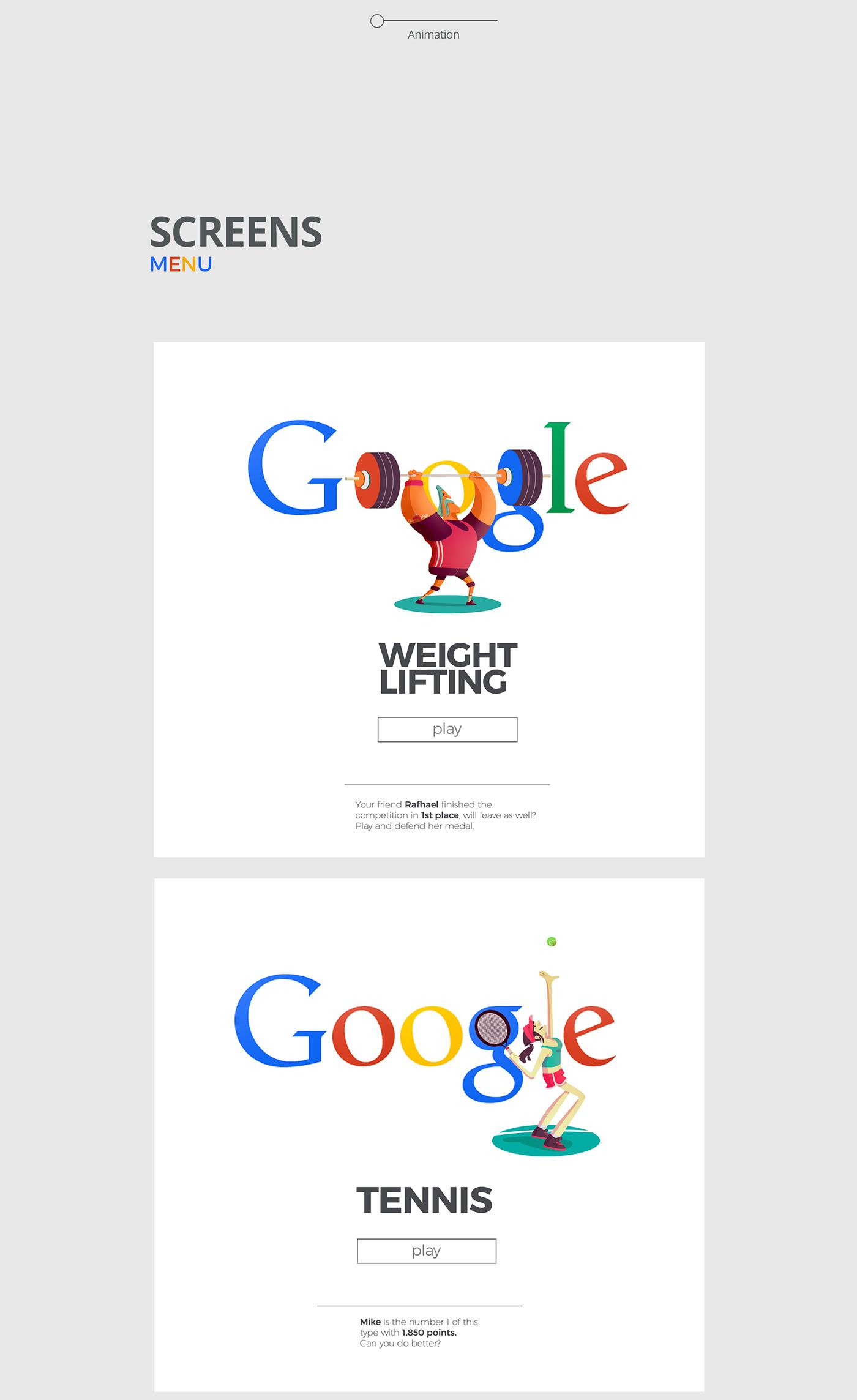 google doodle rio 2016 Character Olympics flat design flat sports mobile