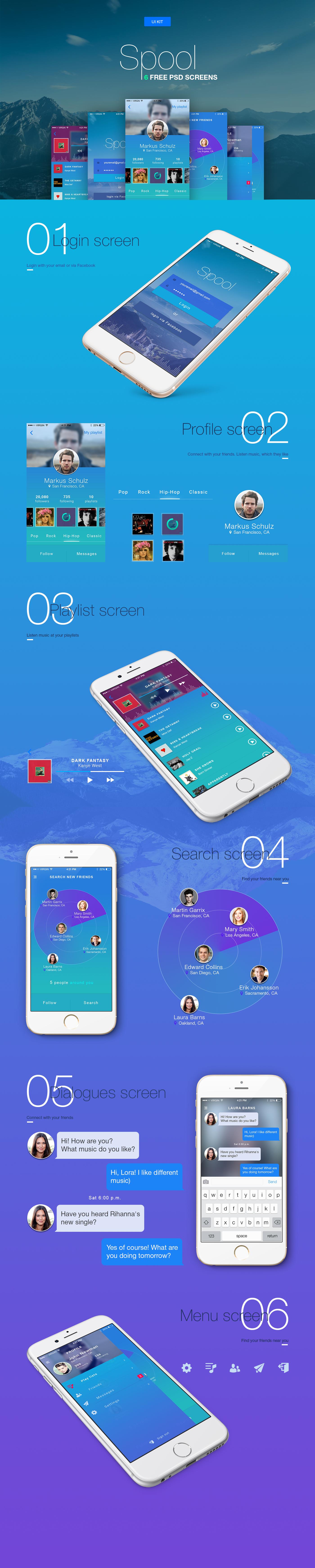 free UI kit ui kit psd free psd uikit screen app application Free App