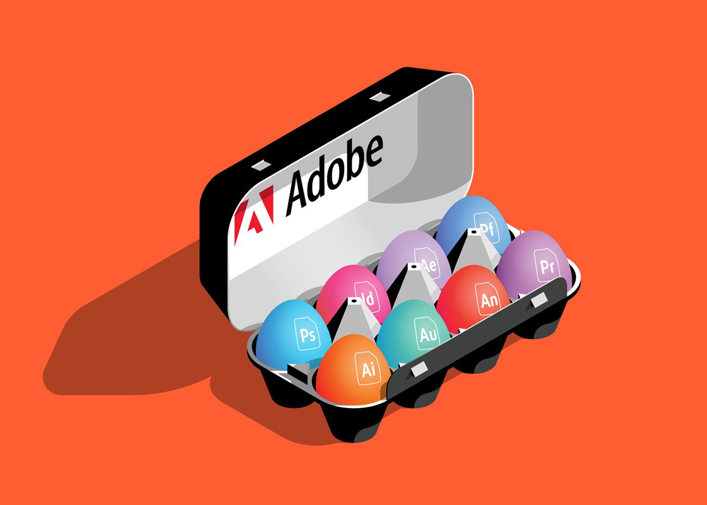 Adobe Eggs vector isometric illustration