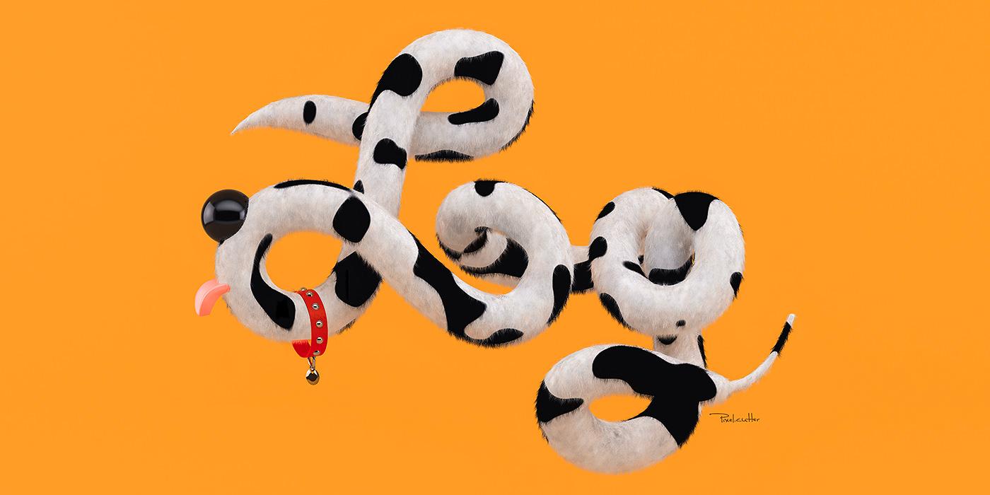 3D 3D typography dog Fur tail dalmation Illustrative Type 3D illustration