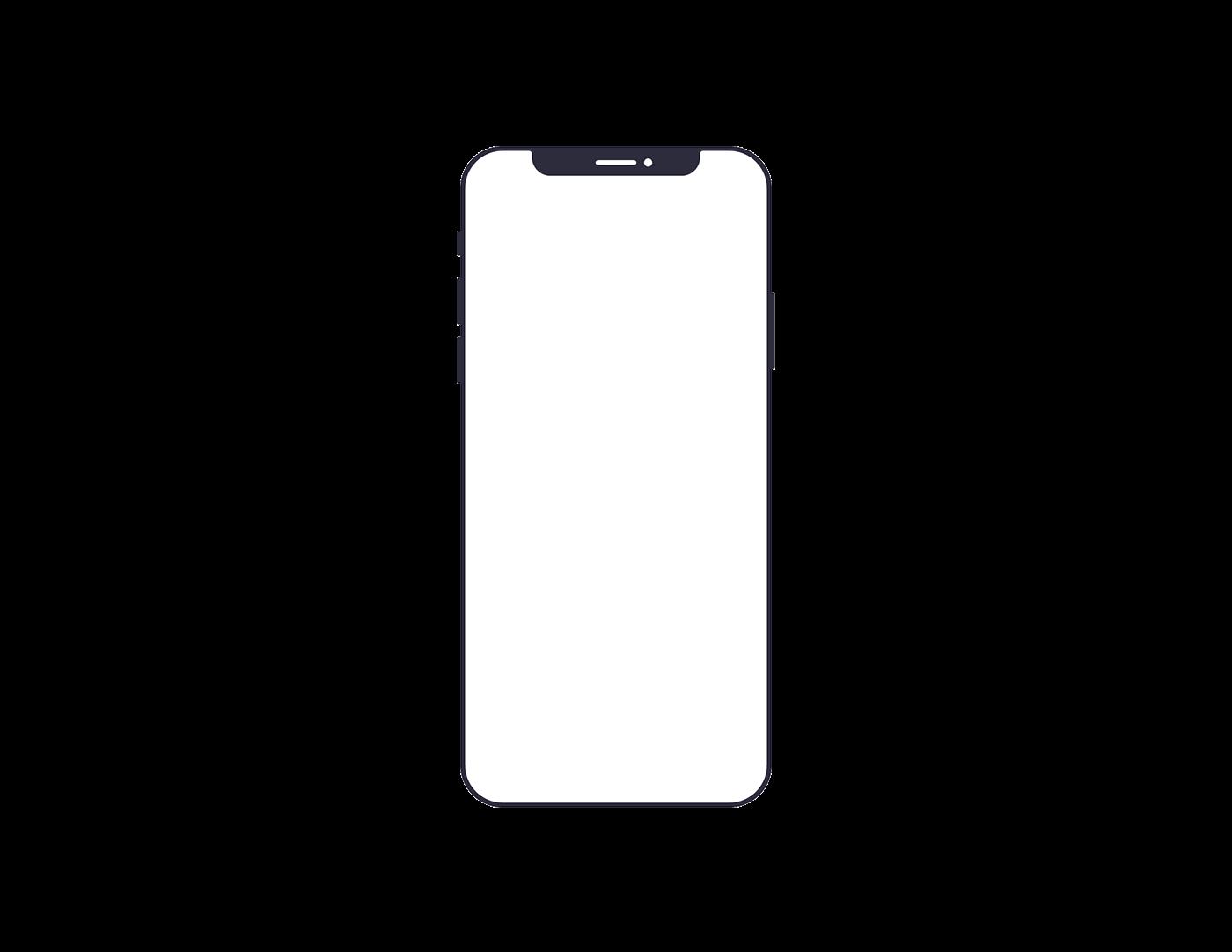 IPhone X Minimalist Wireframe Outline